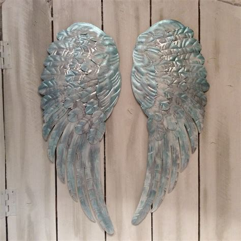 large metal angel wings wall decor distressed silver tiffany