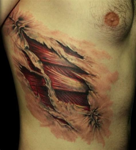 cross tattoos on rib cage 3d cowboy cross tattoos