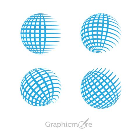 globe grid shape icons design free vector file download