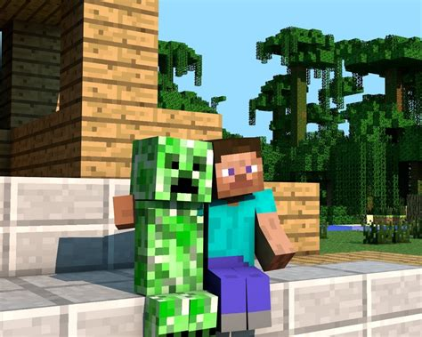 mine craft minecraft steve and creeper images 4 gameblips