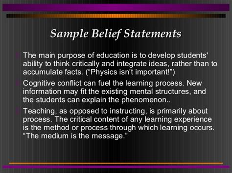 Beliefs About Teaching And Learning Essay by Personal Belief Statements About Education Personal