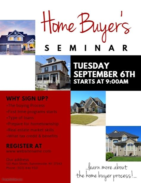 Home Buyer S Seminar Flyer Template Postermywall Home Buyer Packet Template