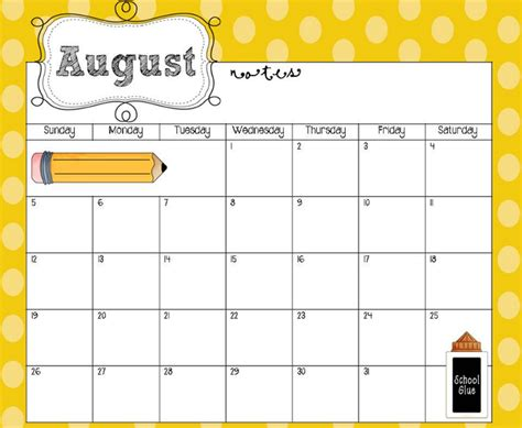 8 best images of cute free printable calendar templates