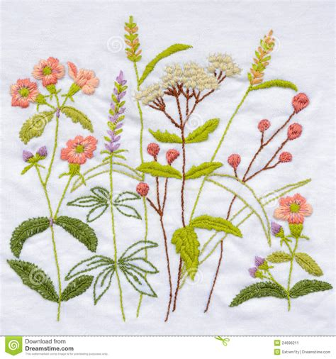 Embroidery Handmade - handmade flower embroidery stock image image 24696211