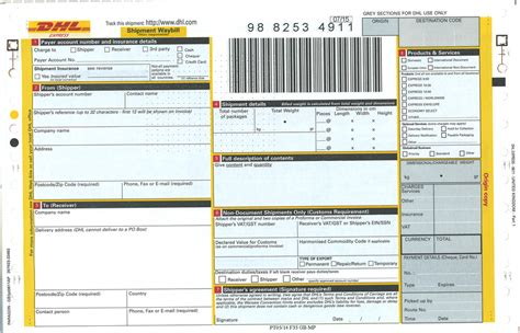 airway bill template dhl air waybill form the knownledge