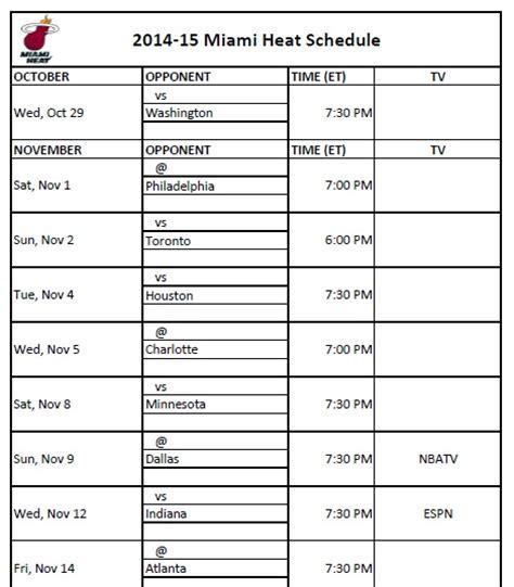 miami heat printable schedule 2014 15