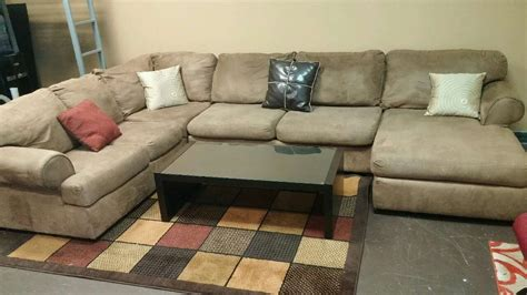 bdi ballard designs 28 light brown u shaped sectional curved soft grey