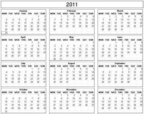 Calendar 2011 Printable Yearly 2011 Printable Calendar Large Black White Week