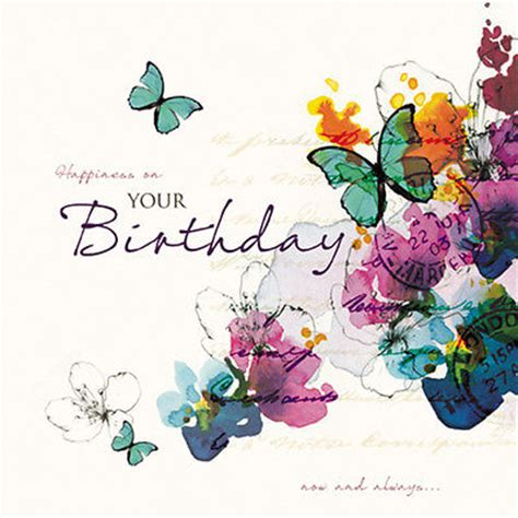 happy birthday card bright butterflies & flowers size 6.25