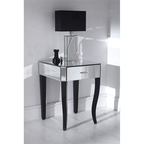 mirrored side table bedroom mirrored accent table with single drawer plus table l