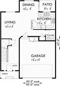 Townhouse Floor Plans With Garage by Triplex House Plans Townhouse With 2 Car Garage