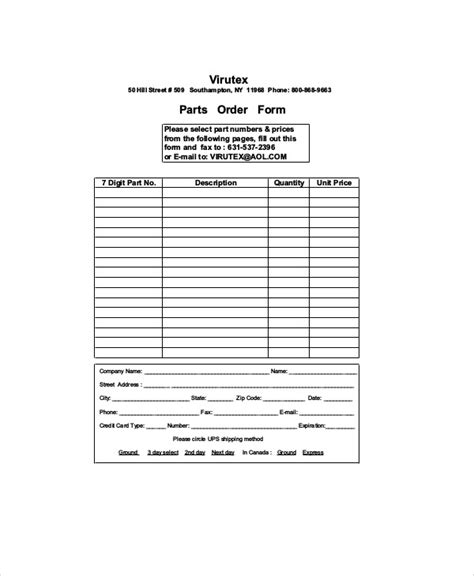 parts order form sle parts order form 11 exles in word pdf