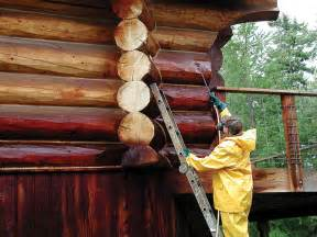 staining your log cabin