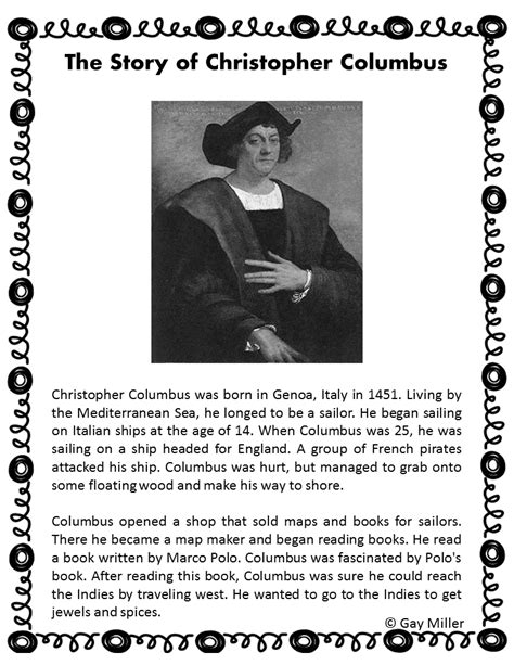 christopher columbus printable biography book units teacher