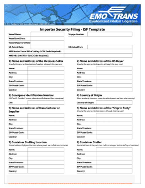 Filing Template Fill Online Printable Fillable Blank Pdffiller Isf Form Template