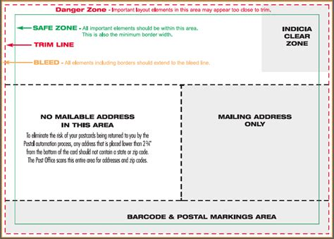 standard postcard template postal regulations for postcards