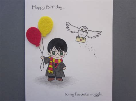 Harry Potter Themed Birthday Cards Harry Potter Inspired Birthday Card By Abitofimagination