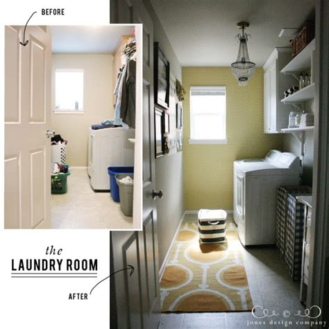 room before and after the laundry room is finished jones design company