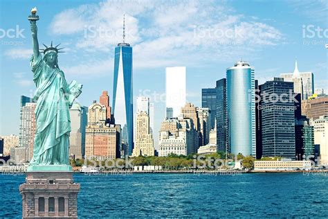 york city skyline statue  liberty stock photo