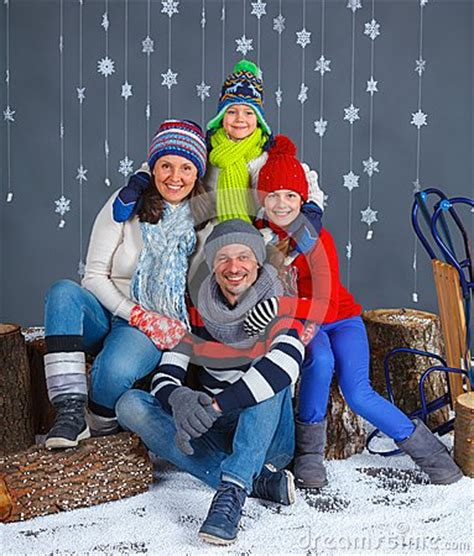 Sweater Happy Smile Fashion Family family in winter clothes stock photo image 38124670