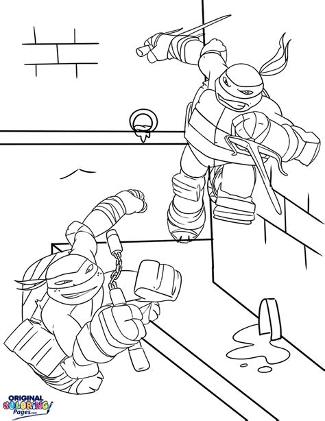 raphael and michelangelo turtles coloring page