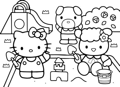 hello kitty new coloring pages hello kitty at the playground coloring page wecoloringpage