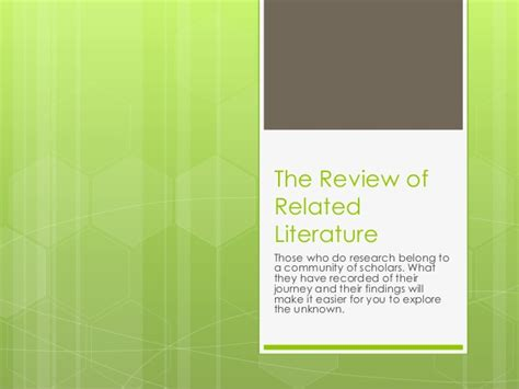 About Review Of Related Literature by The Review Of Related Literature
