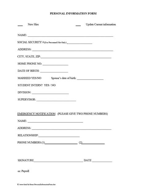 free employee information form template best template design