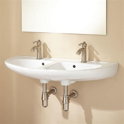 double bowl bathroom sink cassin double bowl wall mount bathroom sink ebay