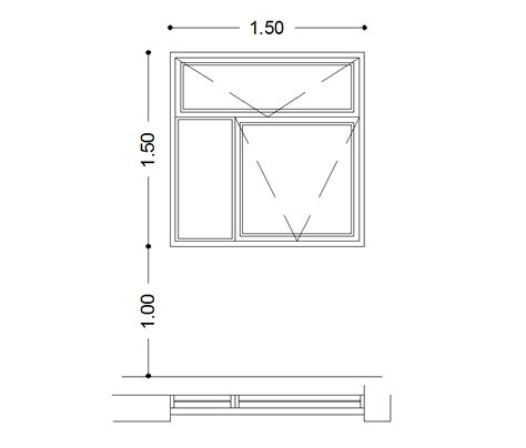 window in plan 2d cad window plan and elevation cadblocksfree cad
