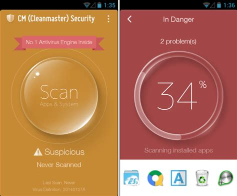 cm security android cm cleanmaster security 232 una combinazione di anti malware eliminatore di file superflui e