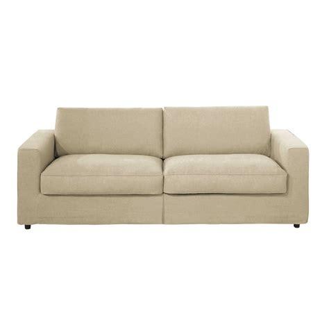 divani in lino divano beige in lino 3 posti cl 233 ment maisons du monde