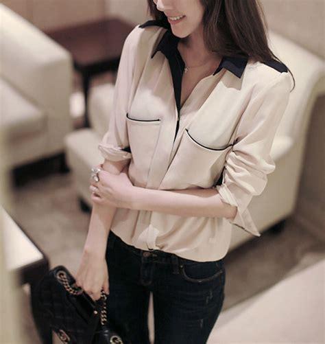Q4 Kemeja Wanita Kemeja Sifon Murah Kemeja Kode E5472 1 baju kemeja wanita sifon coklat model terbaru jual murah import kerja