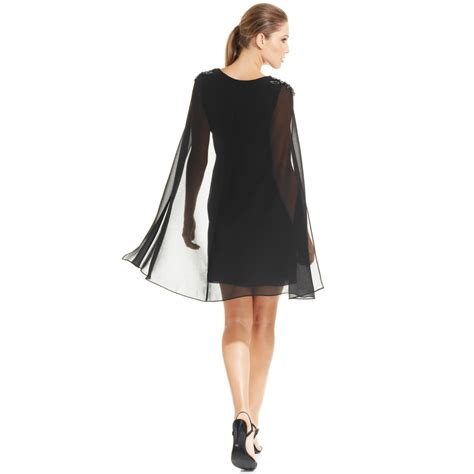 dress for xscape embellished chiffon capelet dress in black lyst