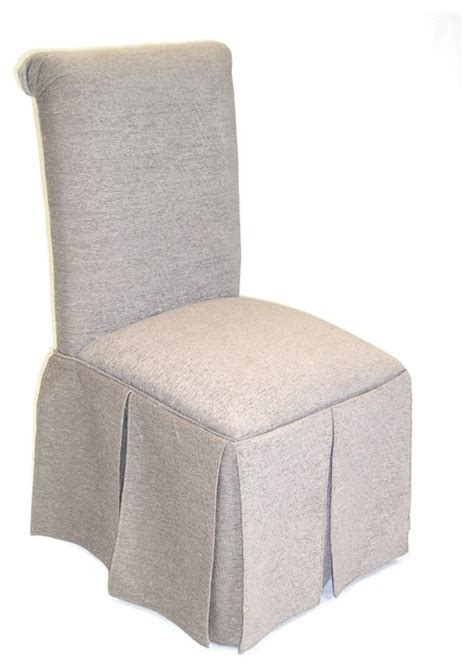 4d concepts skirted parsons chair in textured tonal taupe