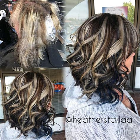 lowlighting the hair under the top layer chunkyhighlights instagram hair coloring and hair style