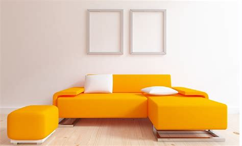 Interior Design Sofa minimalist interior design with orange sofa interior design