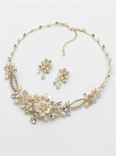 Wedding Jewelry Sets by Floral Gold Jewelry Set Shop Wedding Jewelry Usabride