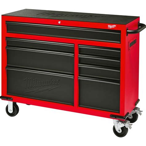 Milwaukee 46 in. 8 Drawer Rolling Steel Storage Cabinet, Red and Black 48 22 8520   The Home Depot