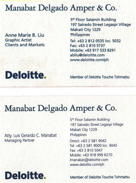 What Consulting Firms Sponsor Mba by Deloitte Business Card Pictures To Pin On