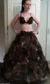 what fashionable for pubic hair designer sarah louise byran who made a dress from pubic