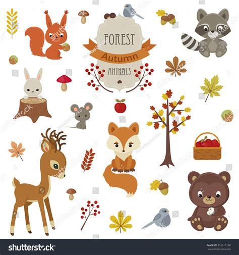 Tree Stickers For Nursery Walls woodland animals autumn time raccoon bunny stock vector