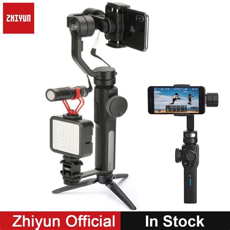 zhiyun smooth 4 3 axis gimbal stabilizer w boya by mm1 microphone for iphone xs samsung s9 s8
