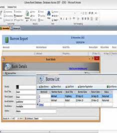 ms access templates book library database exles for