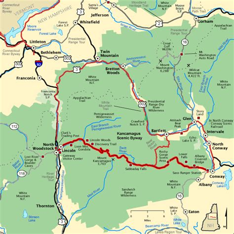 americas byways kancamagus scenic byway map america s byways