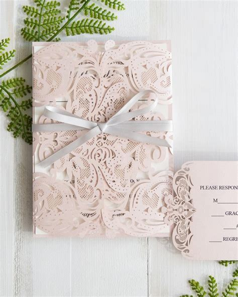Pink Blush Lace Laser Cut Wedding Invitations All In One Invitation Rs a laser cut inspired wedding with stylish wedd