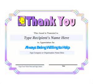 Thank You Certificate Templates Free by Sle Thank You Certificate Template 10 Documents