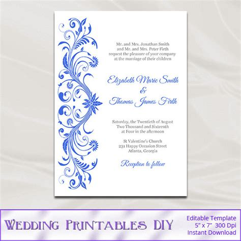 Royal Blue Wedding Invitations Template Diy Printable Bridal Royal Wedding Invitation Template Free