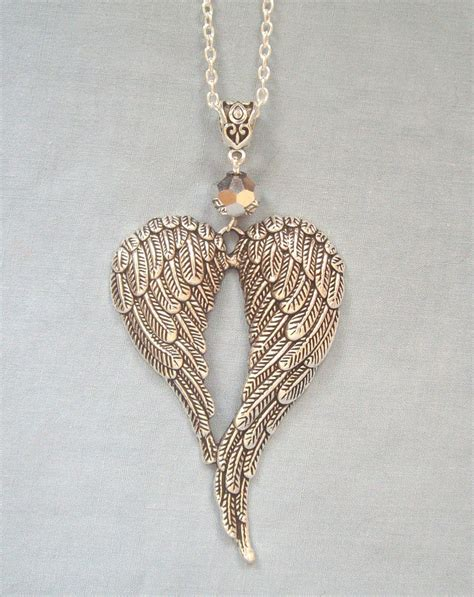 Wing Necklace large guardian wings silver pendant 32 quot