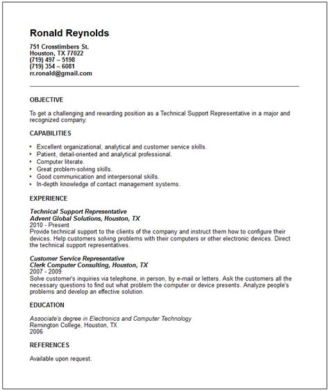technical support representative resume exle free templates collection
